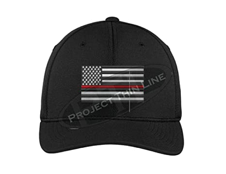 Embroidered Thin RED Line Subdued American Flag Firefighter Black Flexfit  Hat (S M) b9a6497f169