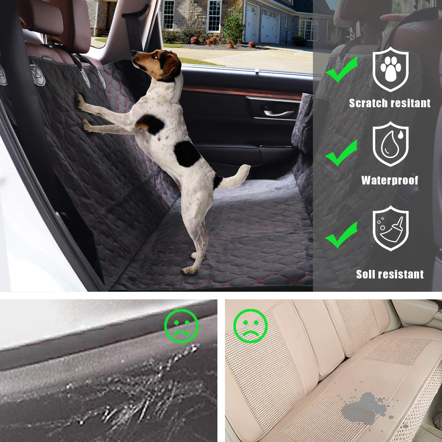 SUPSOO Dog Car Seat Cover Durable Dog Back Seat Cover Hammock 600D Protector Scratchproof Nonslip Soft Pet Backseat Covers for Cars SUVs and Trucks