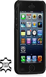 Style bien Exclusif Cover pour le dos en cuir véritable pour Apple iPhone 5& iPhone 5s Noir Vintage