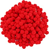 250 Pieces Mini Pompoms Small Fluffy Pom Poms for Decor Arts Crafts DIY, Red (8 mm)