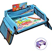 Kids Travel Play Tray – Activity, Snack, Play Tray & Organizer for Car Seat, Stroller Or Airplane Traveling – Keeps Children Entertained – Portable and Foldable + Free Bag & E-Book by KBT (Blue)