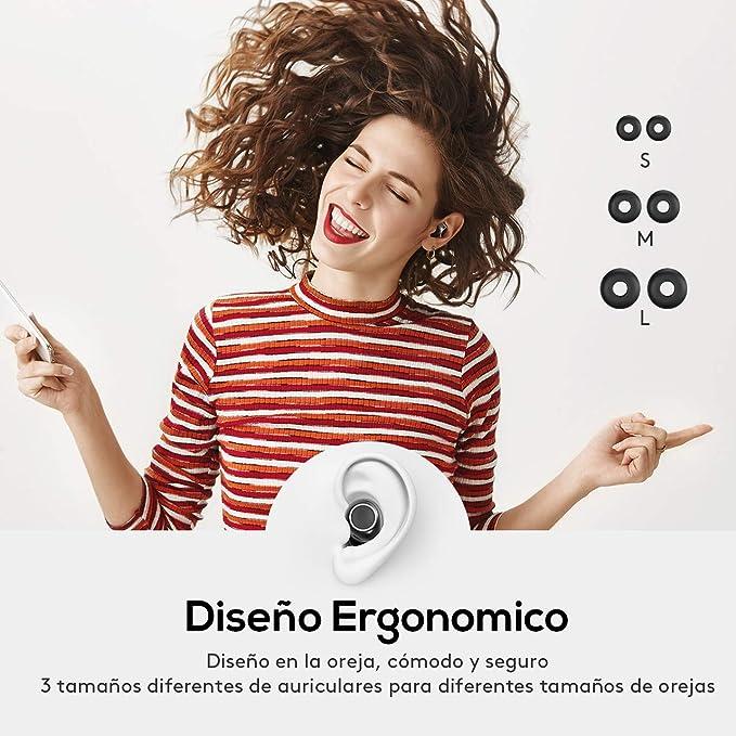 Mpow TWS Auriculares Bluetooth 5.0 Control Tactil, IPX7 Impermeable Mini Auricular 21 Horas Inalámbrica con Estuche de Carga Portátil, micrófono Manos ...