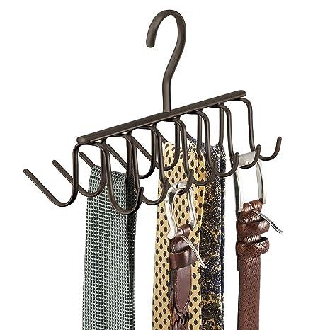ottima vestibilità 100% di alta qualità scarpe esclusive mDesign appendi cravatte – appendiabiti per cravatte e cinture da appendere  – porta cravatte con 14 ganci - per l'armadio - bronzo