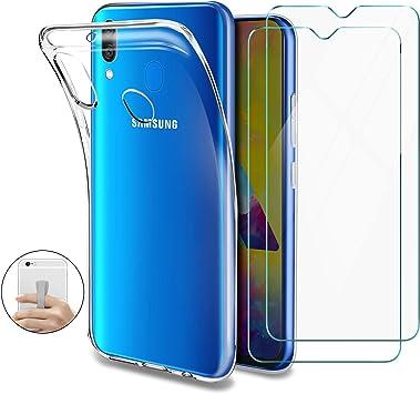 Younme Funda para Samsung Galaxy M20, Carcasa Transparente Silicona Suave TPU Gel + 2 pcs Protector Pantalla in Cristal Templado [con Smartphone Agarre Elástic] para Samsung Galaxy M20: Amazon.es: Electrónica
