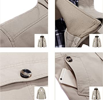49afc781d Mochoose Homme Trench Coton Veste Classique Col Montant Blouson ...