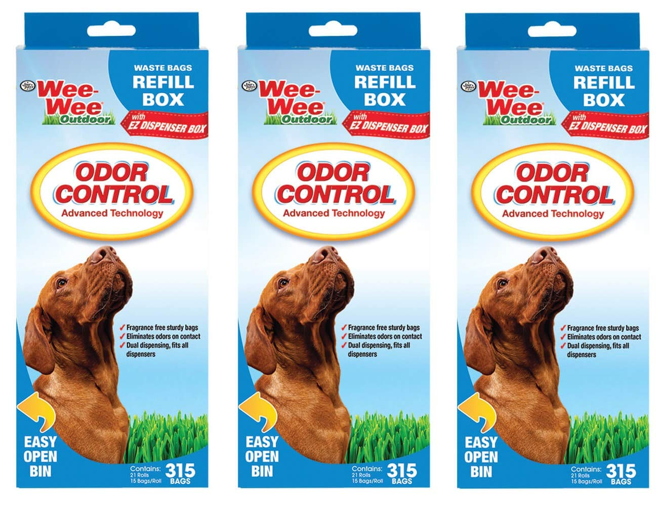 Four Paws (3 Pack) Wee-Wee Odor Control Wastebags, 315 Ct