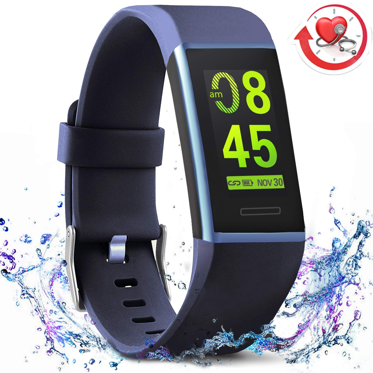 MorePro X-Core Fitness Tracker HR, Waterproof Color Screen Activity Tracker with Heart Rate Blood Pressure Monitor, Smart Wristband Pedometer Watch with Step Calories Counter by MorePro