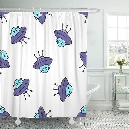 Amazon Emvency Shower Curtain Alien Doodle Pattern Flying