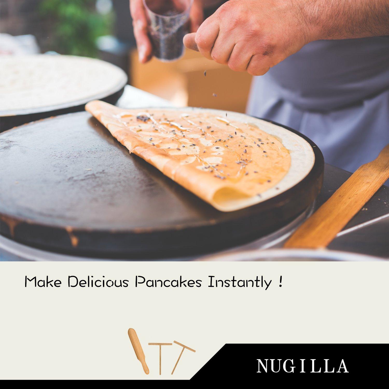 Nugilla Original Crepe Spreader and Spatula Set – 3 Pieces 10-inch Spatula   4.7-inch Spreaders – Premium Beechwood for Crepe Pan Maker/Breakfast Pancakes by Nugilla (Image #4)
