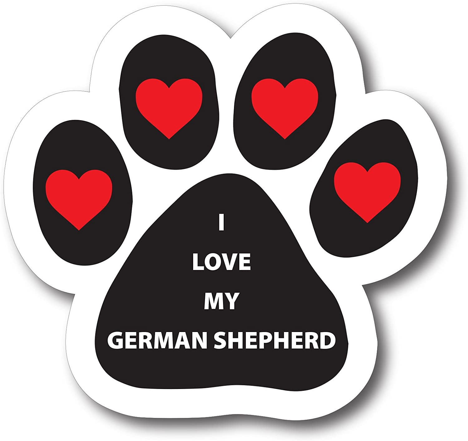 Magnet Me Up I Love My German Shepherd Pawprint Car Magnet Paw Print Auto Truck Decal Magnet
