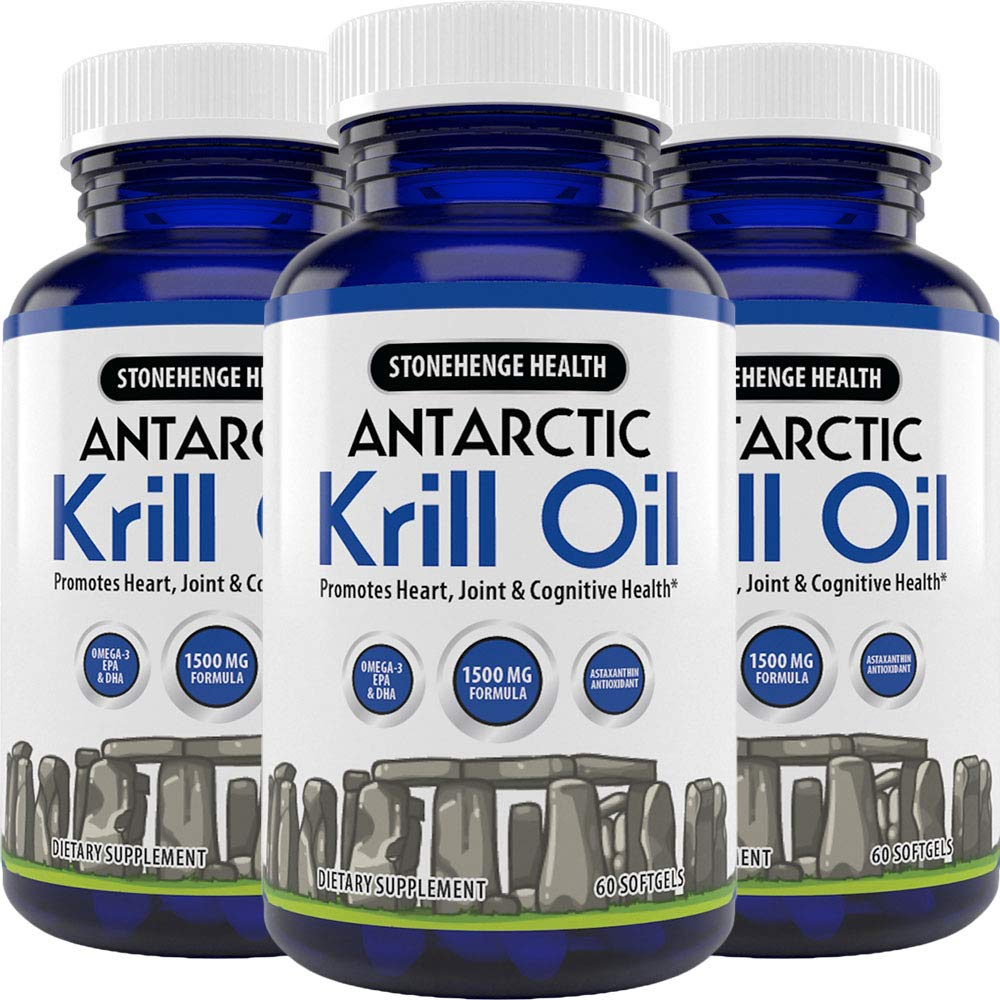 Stonehenge Health Antarctic Krill Oil - Manufactured in USA - Supports Heart, Joint & Brain Health - Maximum Strength Omega-3 EPA - Lemon-Scented - Easy to Swallow - 60 Softgels 30 Day Supply (3)