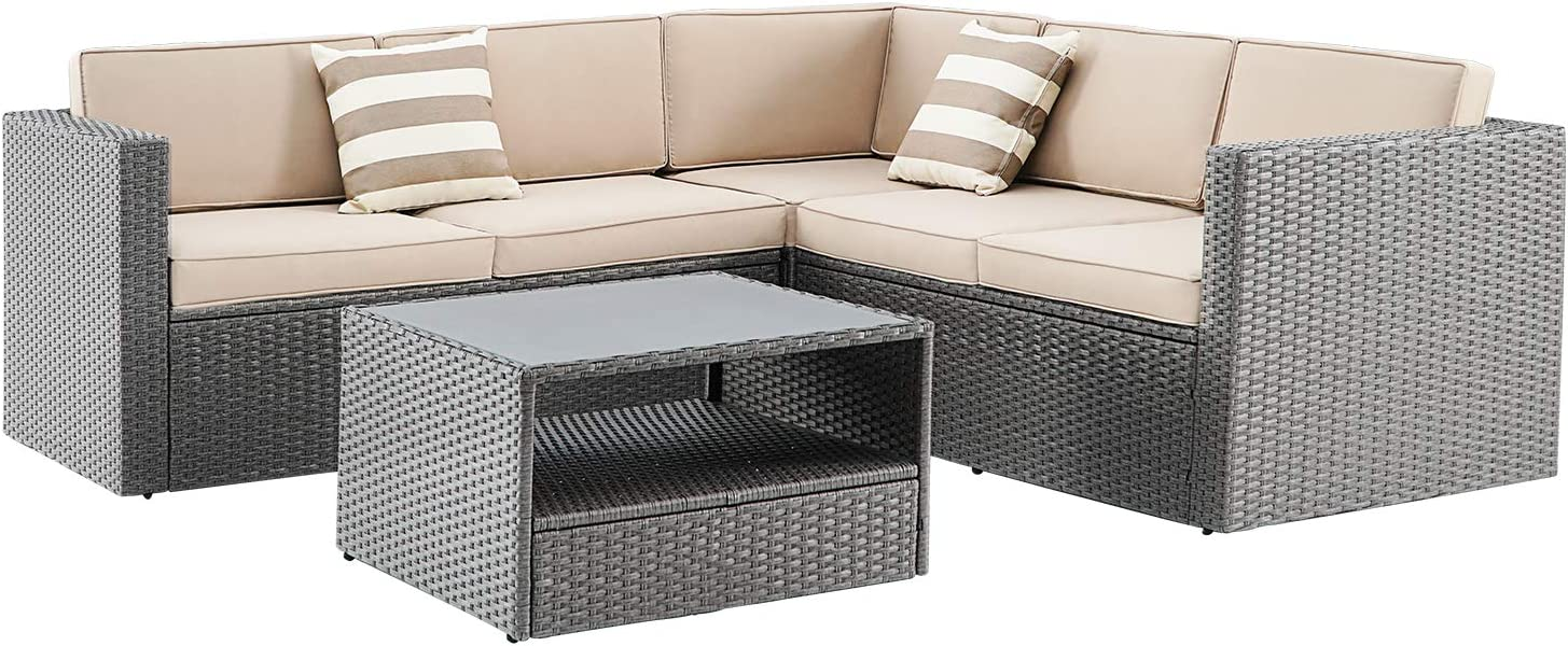 Oakmont 4Pcs Outdoor Furniture Patio L-Shaped Conversation Sectional Sofa Set with Grey Premium Wicker, Sophisticated Glass Coffee Table, Front Porch Garden Pool Lawn(Brown)