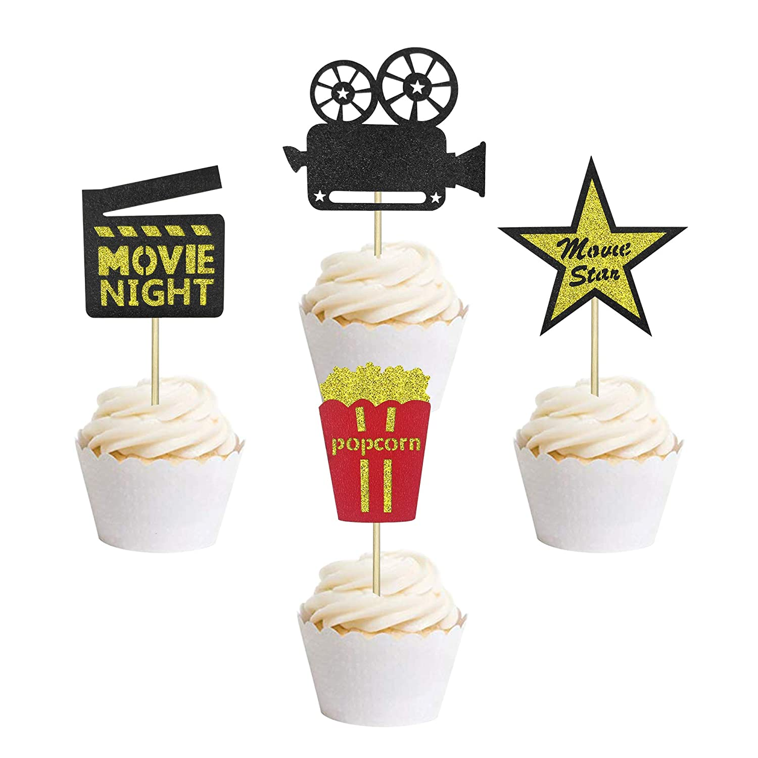 24 Pcs Hollywood Movie Theater Themed Cupcake Toppers Movie Night Party Clear Treat Picks Amazon Com Grocery Gourmet Food