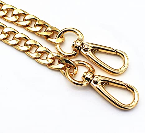 MW 63 DIY Iron Flat Chain Strap Handbag Chains Accessories Purse Straps Shoulder Cross Body Replacement Straps with Metal Buckles Gold