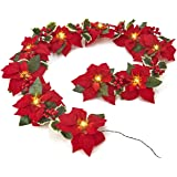 HOMESEASONS Pre-Lit Velvet Silk Poinsettia 6 feet Garland with Red Berries and Holly Leaves - 3AA Battery Operated with…
