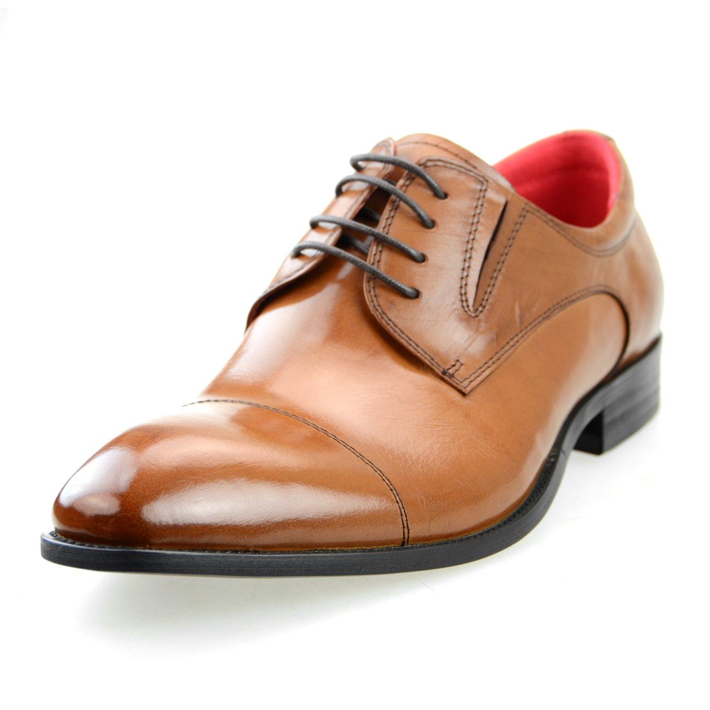 [ルシウス] エムエムワン MM/ONE ビジネスシューズ メンズ 革靴 本革 フェイクレザー ロングノーズ ドレスシューズ 選べる 紳士靴 B01BS7M7CC LLT700SZ-1 ブラウン 26.5 cm 3E