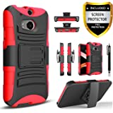 HTC One M8 Case, Combo Shell Cover Kickstand with Built-in Holster Locking Belt Clip+Circle(TM)Touch Screen Pen And Screen Protector- (Red)