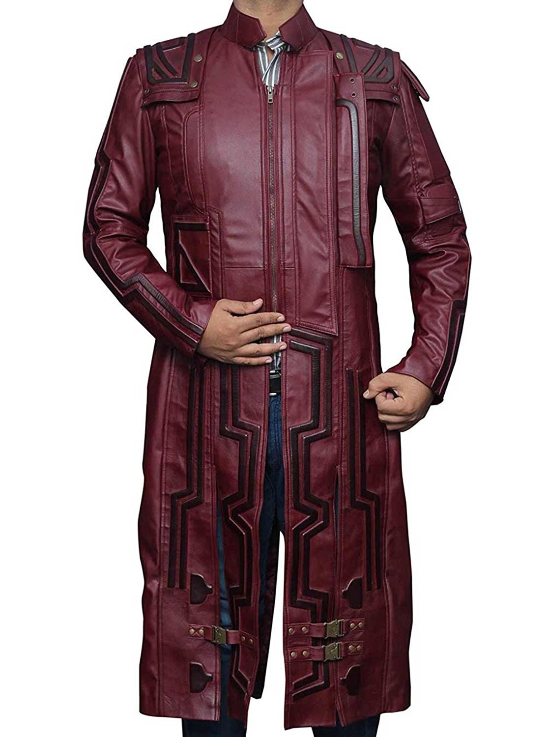 BlingSoul Star Lord Peter Quill Leather Coat Men Costume - Trench Coat Dress For Boys (L)