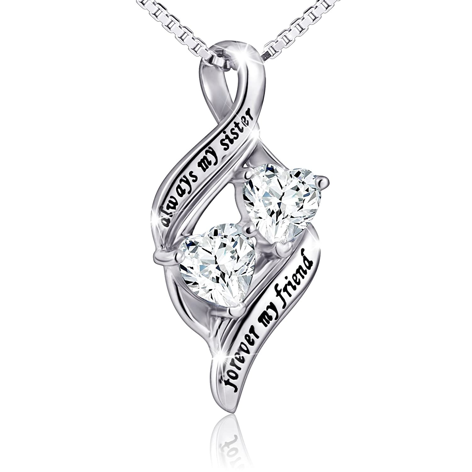 925 Sterling Silver Always My Sister Forever My Friend Double Love Heart Necklace, Box Chain 18