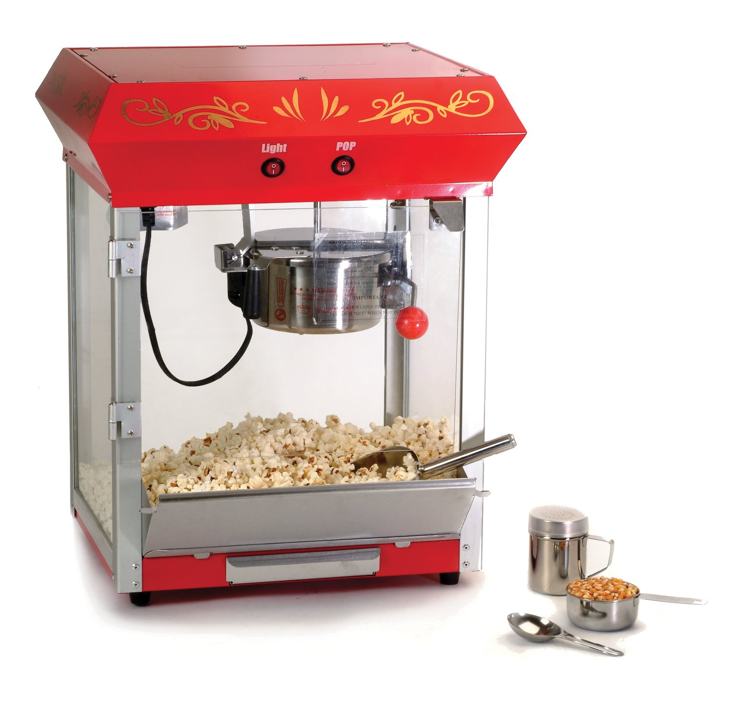 Elite Deluxe EPM-450 Maxi-Matic 4 Ounce Old-Fashioned Tabletop Popcorn Popper Machine with Accessories, Red