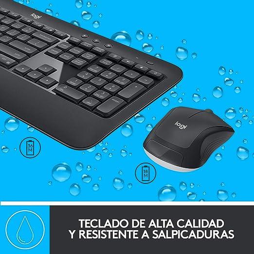 Logitech MK540 Pack Inalámbrico Teclado y Ratón para Windows, 2,4 GHz con Receptor USB Unifying, Teclas Multimedia, Batería de 3 Años, PC/Portátil, ...