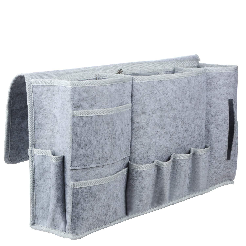 BELUPAI Felt Bedside Caddy, Extra 12 Pockets Bed Caddy Storage Under Mattress Holder for Phone, Remote, Magzine, Glass, Pen, Tablet Organizer