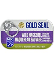 Gold Seal Mackerel Filets in Olive Oil - 115g - 12 Count - Hand Packed Wild Caught Mackerel - Boneless - Gluten Free - Excellent Source of Protein - Natural Source of Omega-3
