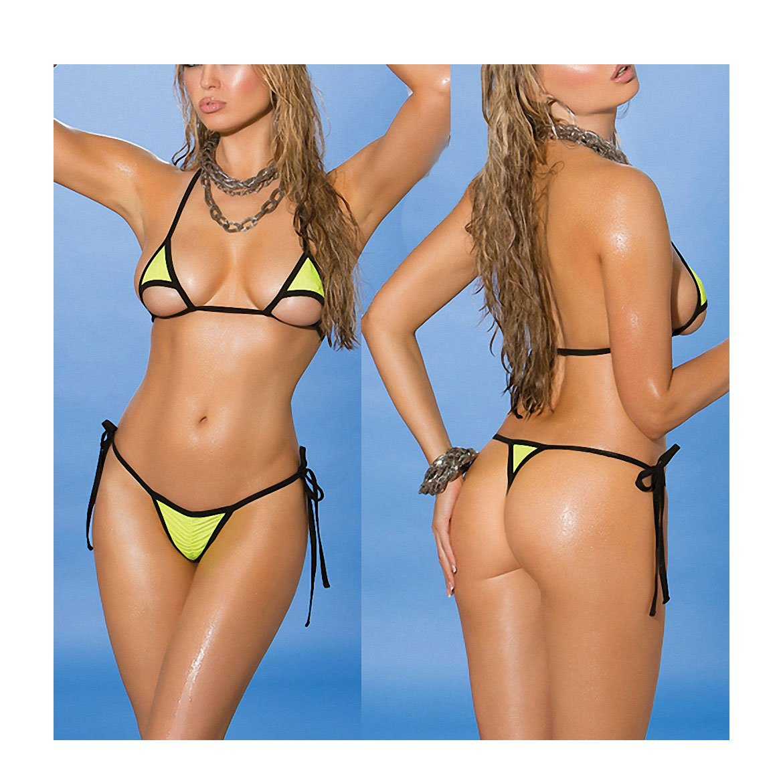 5e49cb4361135 Amazon.com  Tinpia Womens New Micro Bikini Women s Beach Brazilian Beach  Sunbath Bikinis Set Sex Exotic Swim Swimwear Female Swimsuit Black Green  One Size  ...