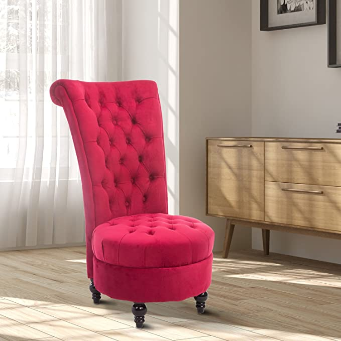 Amazon.com: HOMCOM Elegant Royal High Back Velvet Tufted Accent Ottoman  Chair   Crimson Red: Health U0026 Personal Care