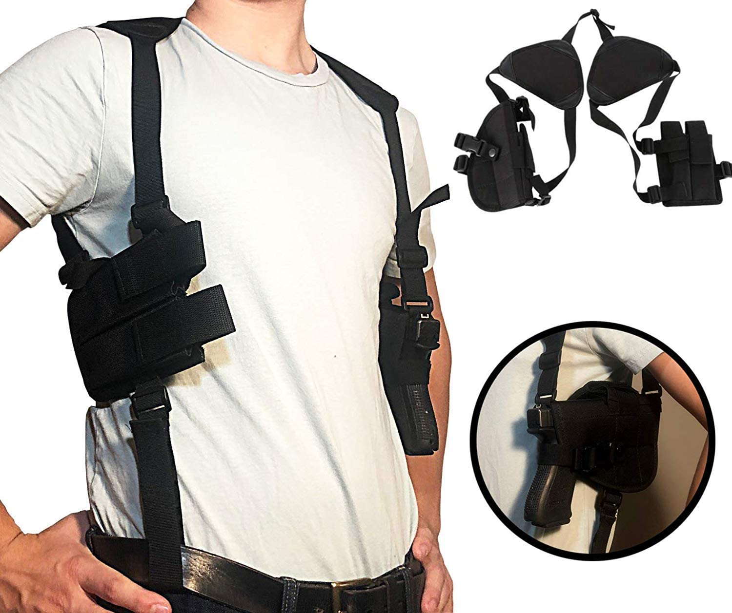 Amazon.com : Gexgune Concealed Carry Shoulder Holster - Outdoor Tactical  Police Security Universal Left Right Hand Pistol Pouch Shoulder Gun Holster  for Glock 17 19 22 23 31 32 (Black) : Sports & Outdoors