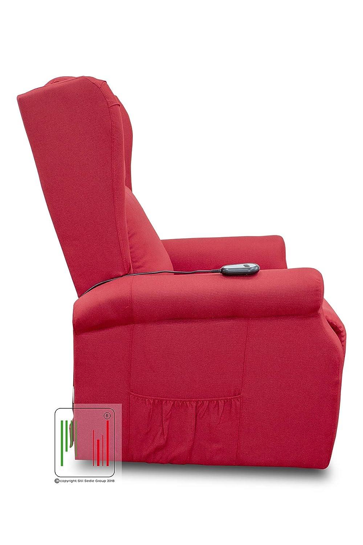 Marrone Poltrona Relax reclinabile elettrica alzapersona Bergere in Tessuto con Due Ruote MOD Giada Stil Sedie