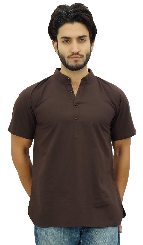 Atasi Men's Mandarin Collar Brown Cotton Kurta Half Sleeve Casual Tunic
