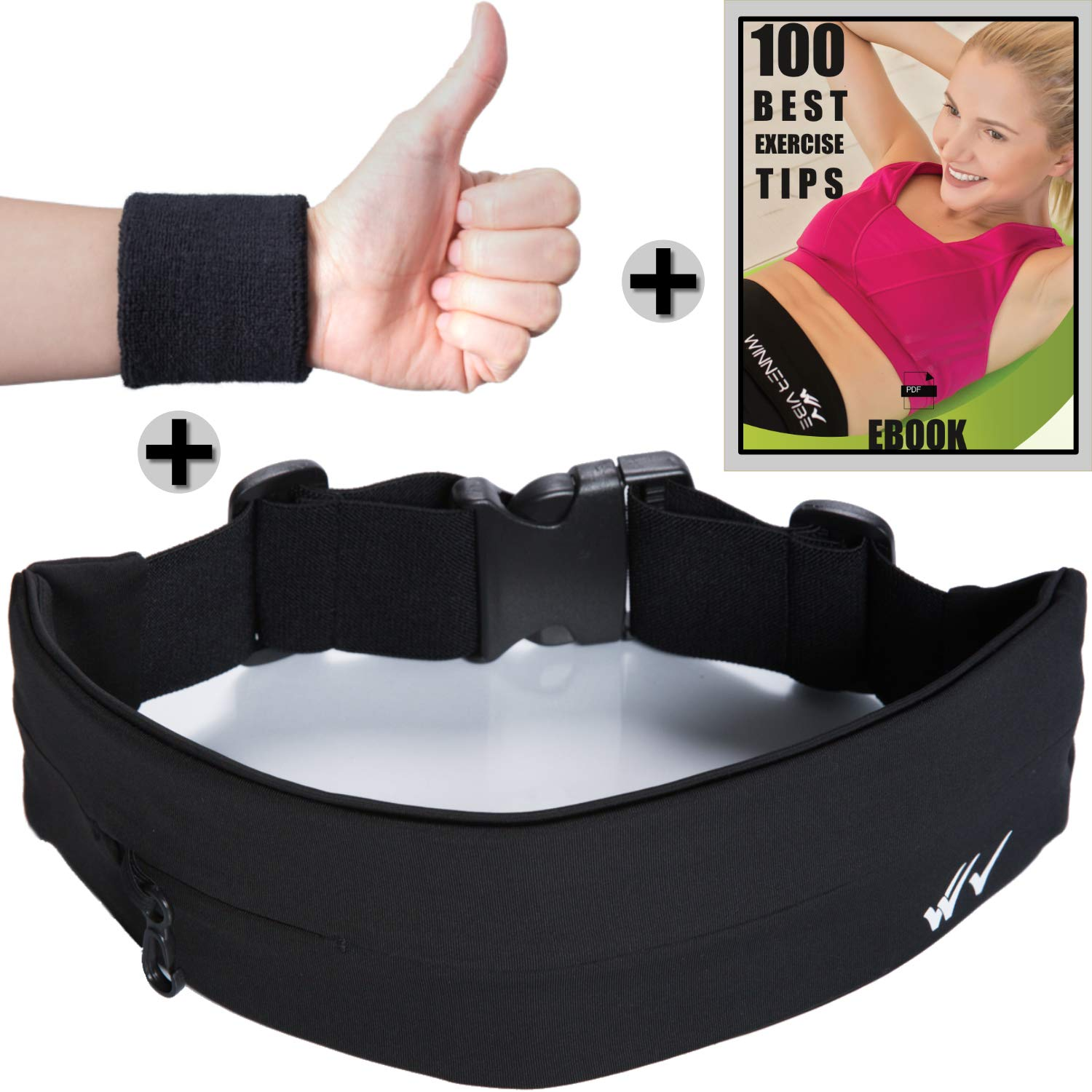 Winner Vibe Running Belt with Extra Large Pocket to fit iPhone X, 8 Plus, Samsung 8 Plus Fitness, Jogging Belt for a Hands Free Workout Elastic Unisex Waist Pack with Phone Holder