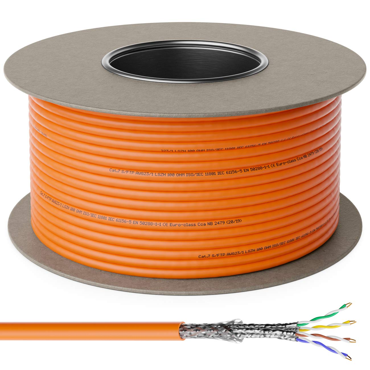 deleyCON 50m Cat.7 Cable de Instalaci/ón Cobre R/ígido S//FTP PIMF Cable de Red Cable de Instalaci/ón Cable LAN Cable de Ethernet Cable de Datos Gigabit CAT7 10Gbit 1000MHz LSZH Libre de Hal/ógenos DOP