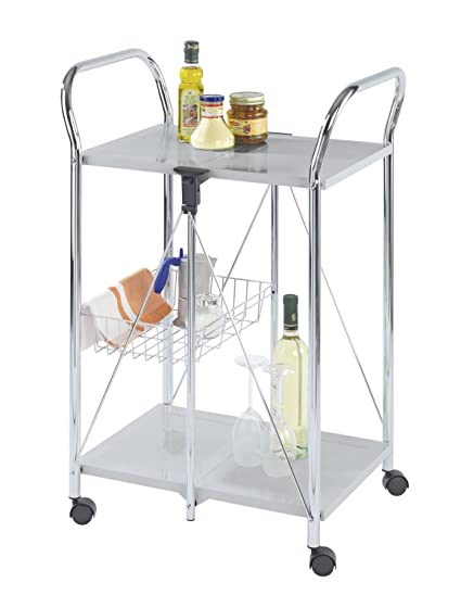 WENKO 900060100 Kitchen and utility trolley Sunny silver - foldable, Powder-coated metal, 22.2 x 35.6 x 17.3 inch, Silver