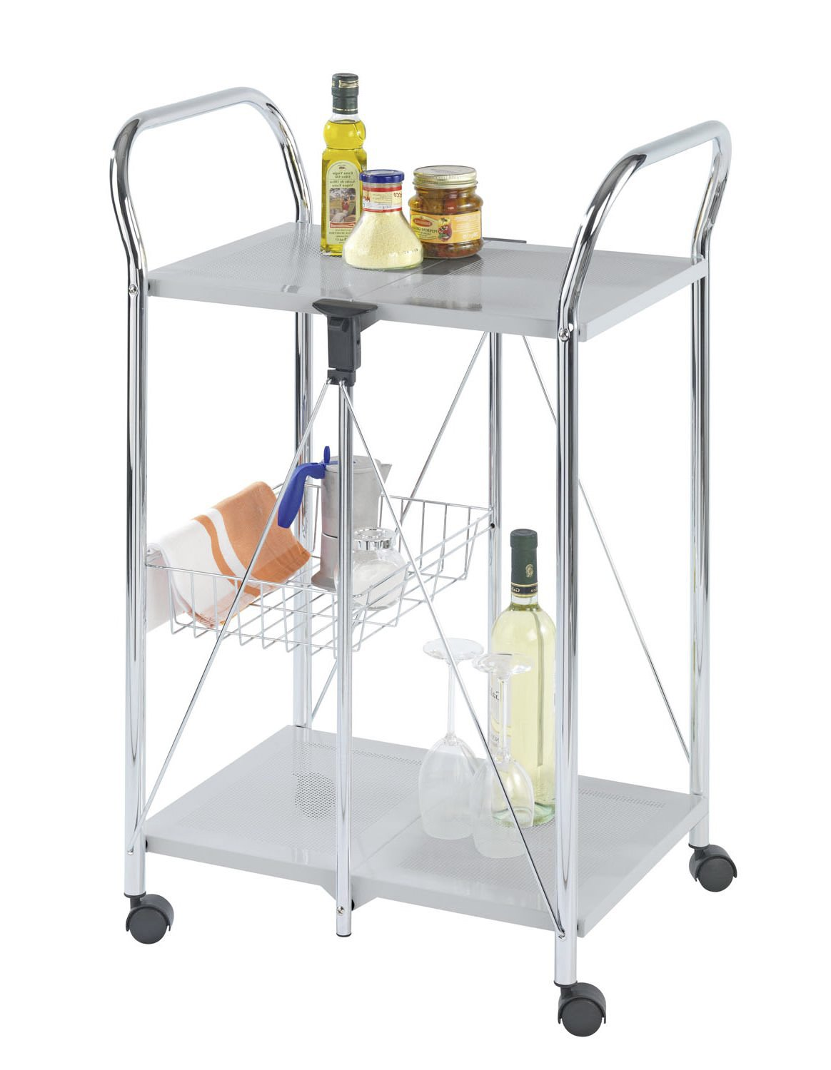 WENKO 900060100 Kitchen and utility trolley Sunny silver, 60 x 90 x 44 Cm- foldable, Powder-coated metal, 22.2 x 35.6 x 17.3 inch, Silver/Chrome by WENKO (Image #1)