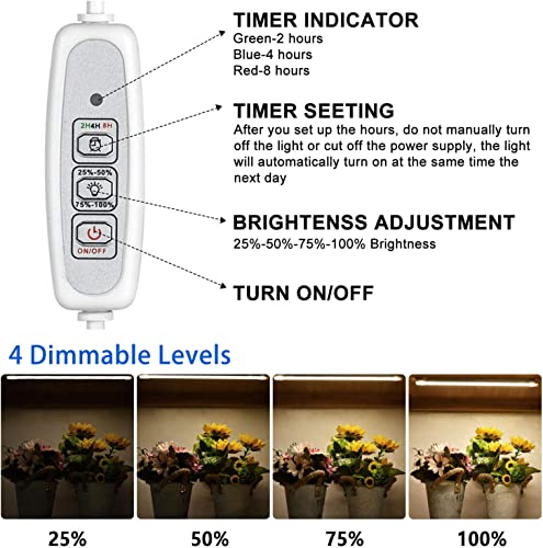 LED Plant Grow Light Strips for Indoor Plants Full Spectrum 20W LED Sunlike Grow Lamps for Seedlings Herbs Succulents with Auto ON Off, 2 4 8H Timer, 96 LEDs 4 Dimmable Levels 2 Pack