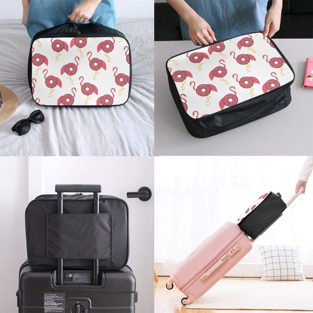 Nylon Lightweight Tote Luggage Bag Waterproof Luggage Hanging Bag Flamingo Donut Funny Overnight Bag Gym Holiday Travel Duffle Bag Weekender Bag In Trolley Handle