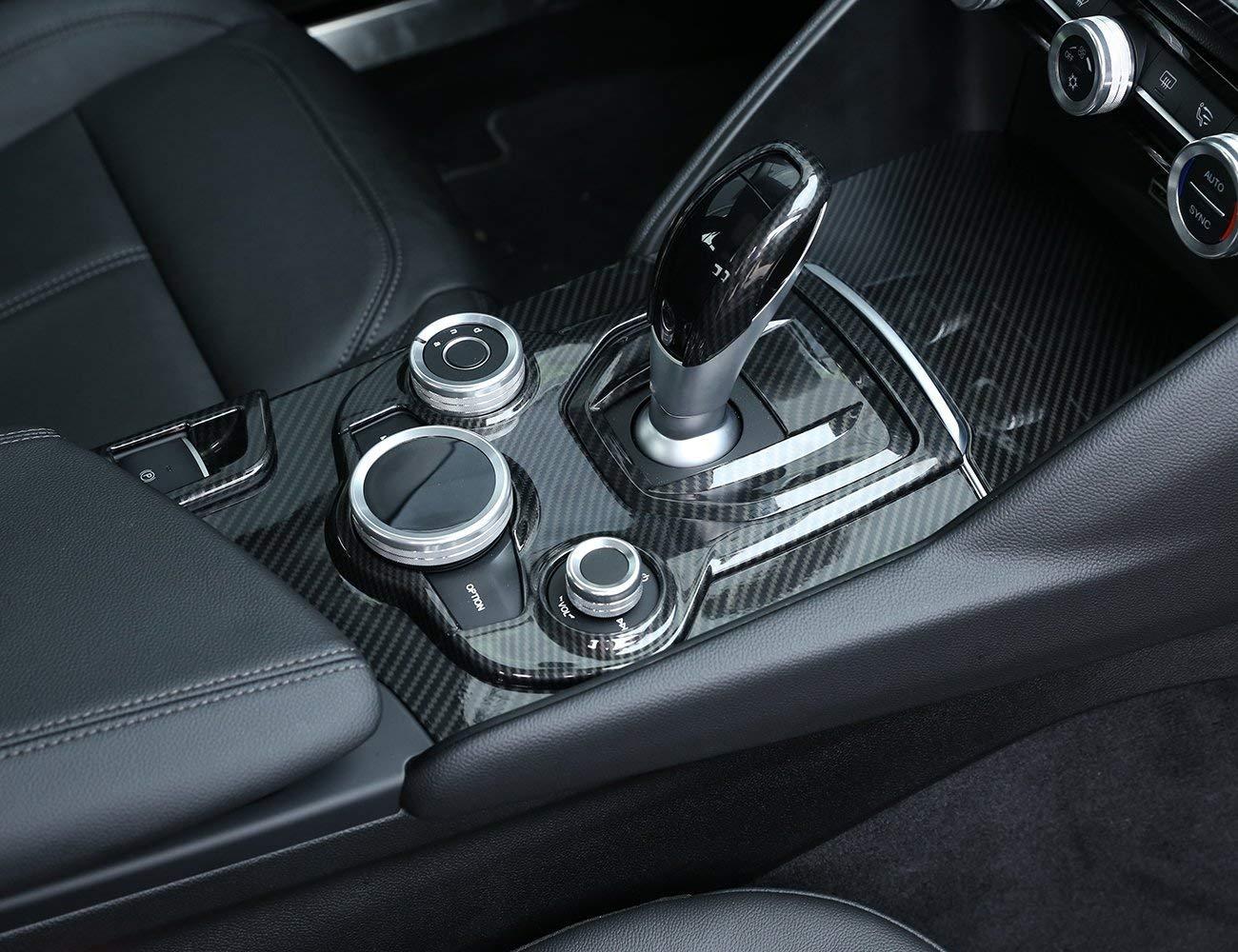 Carbon Fiber Style ABS Chrome Center Console Decoration Frame Trim Cover for Alfa Romeo Giulia Stelvio 2016-2018 Autobro