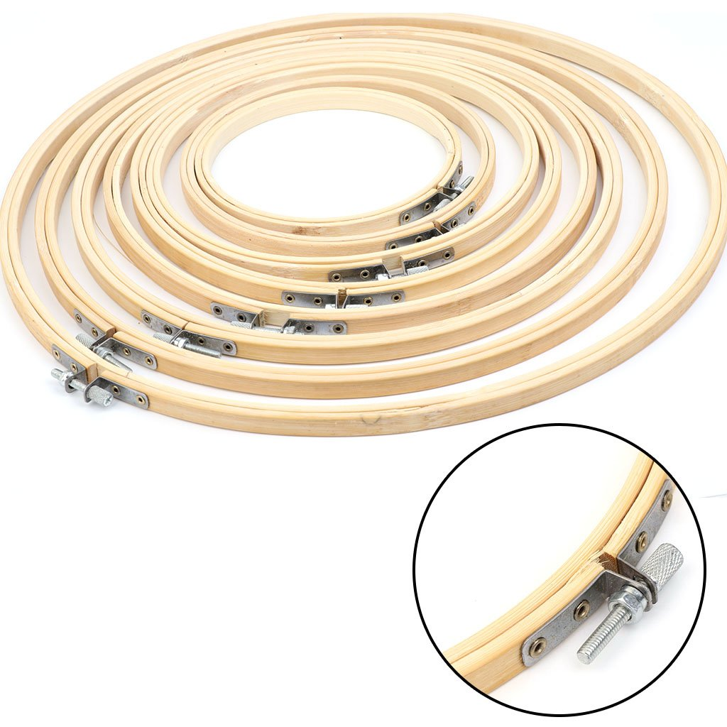 1x 13-34 cm Bambus Handstickerei Kreuzstich Ring Hoop Frames Holz Stickrahmen
