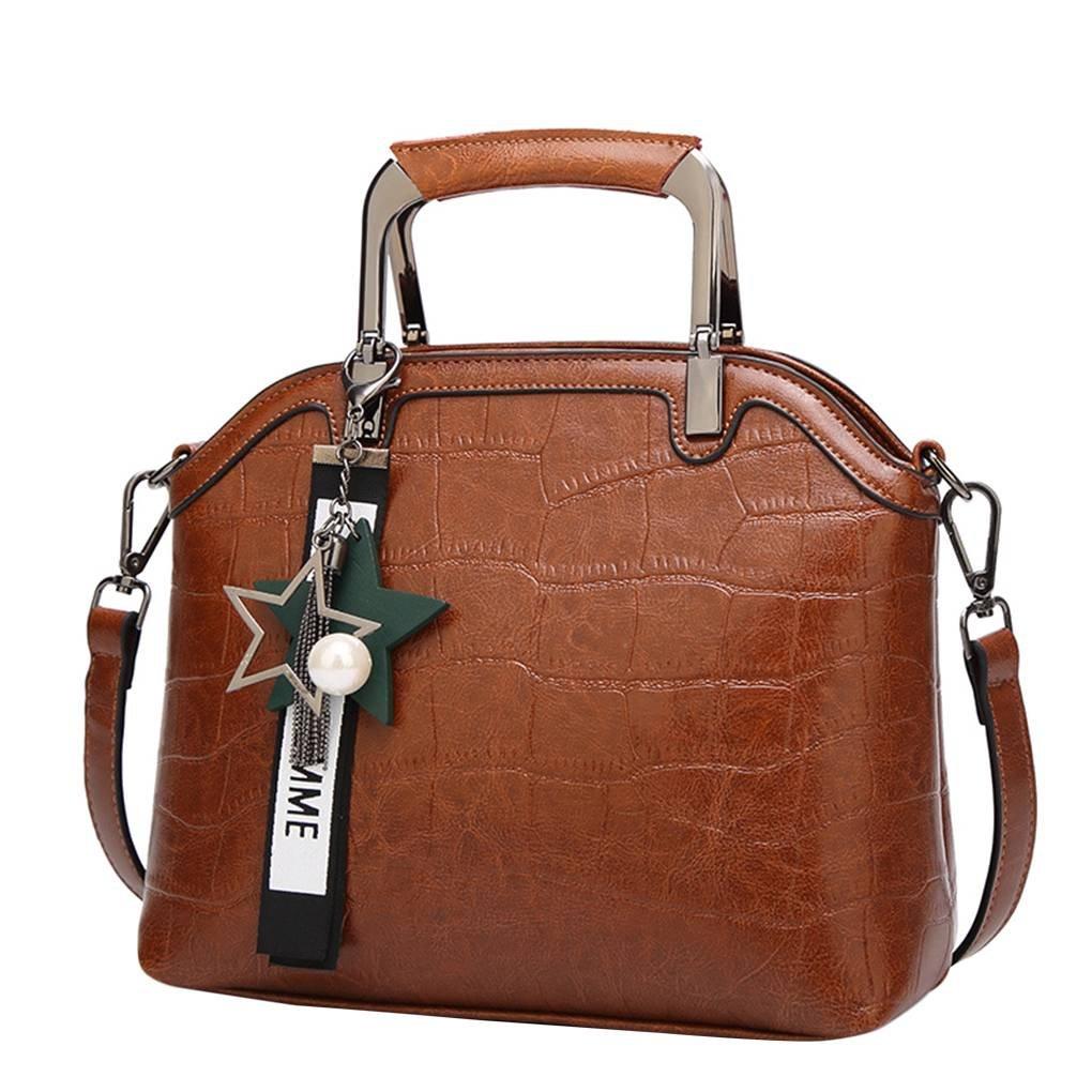 Chilie Star Tassel Pendant Solid Color Women Girl Single-shoulder Bag Handbag PU Crossbody Messenger Bags