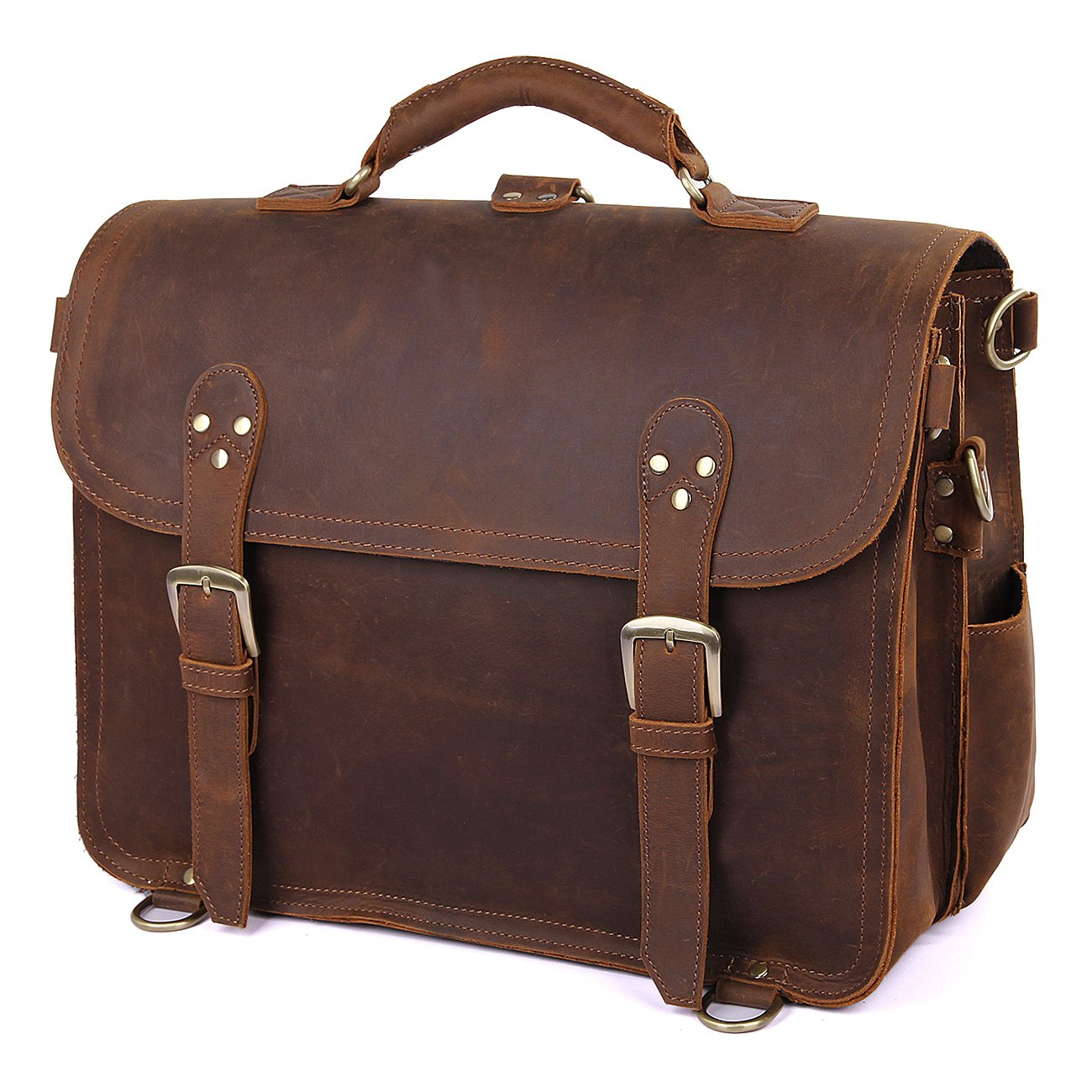Texbo Men's Thick Cowhide Leather Messenger Bag, 16.5'' Laptop Briefcase by Texbo (Image #7)