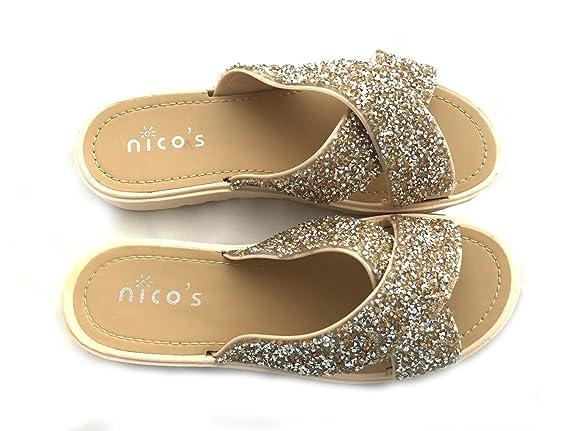 Nicos Glitter Pantolette Sliders in Nude Bloggerstyle Gr. 36-41 op4nrzF