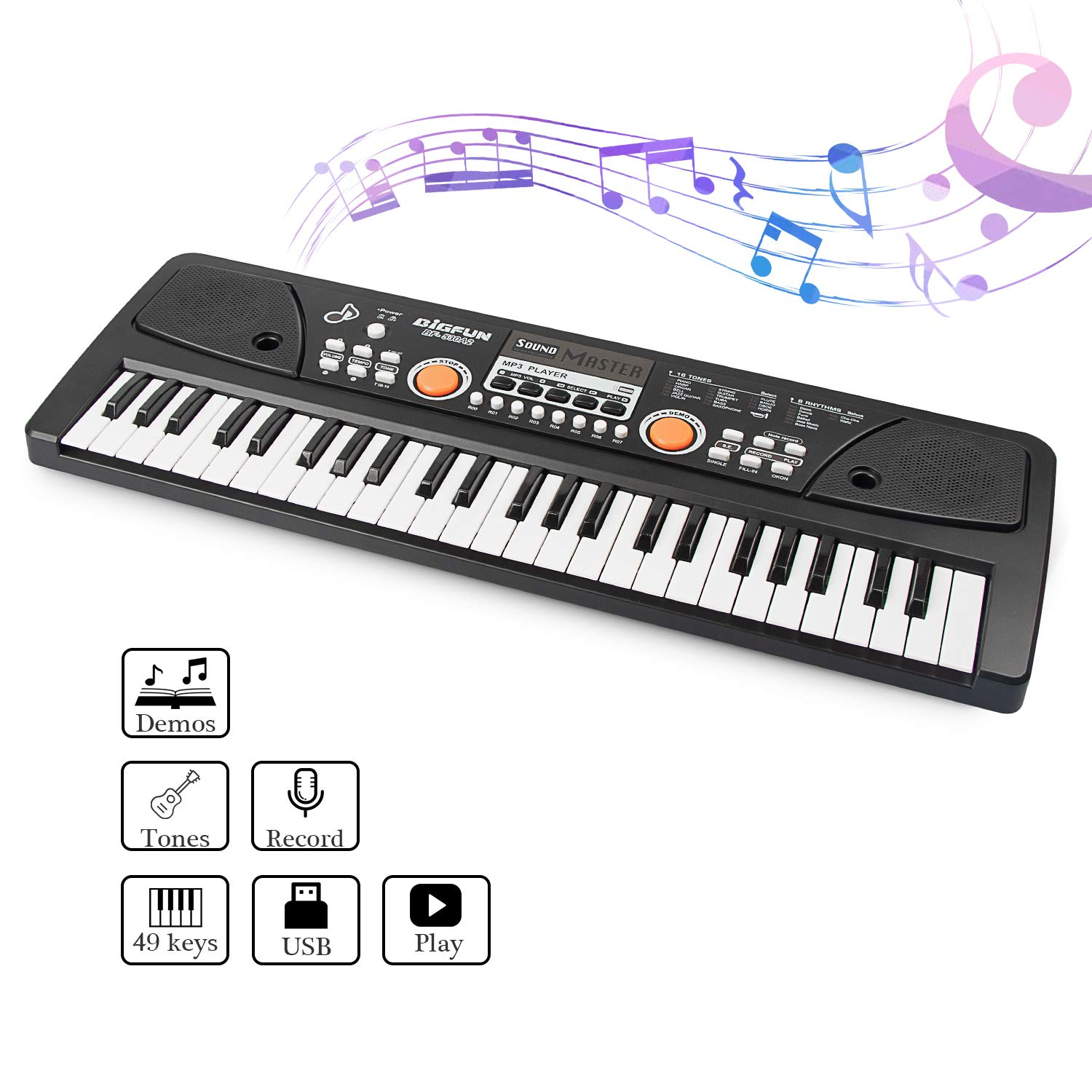 aPerfectLife 49 Keys Piano Keyboard for Kids Multifunction Portable Piano Electronic Keyboard Music Instrument for Kids Early Learning Educational Toy (Black) by aPerfectLife (Image #2)