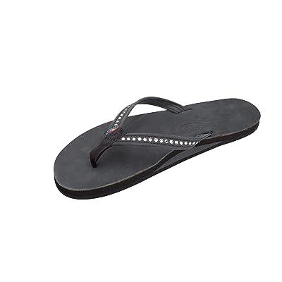 Rainbow Sandals Women's Single Layer Premier Leather w/Swarovski Crystal Narrow Strap | Flip-Flops