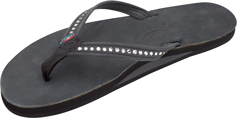 B000TZ88HS Rainbow Sandals Women's Single Layer Premier Leather w/Swarovski Crystal Narrow Strap 71xLwUpgBUL