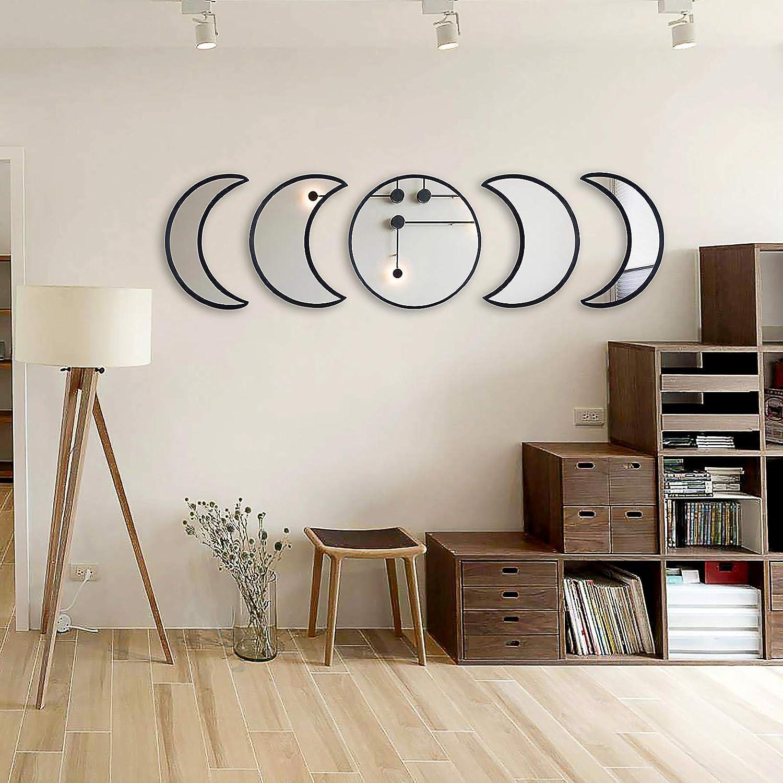 VARTSING 5 Pieces Scandinavian Natural Decor Acrylic Wall Home Decor Ative Mirror Interior Design Moon Phase Variety Mirror Moon Mirror Wooden Bohemian Wall Decoration for Room(Black).