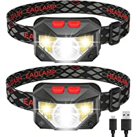Headlamp Flashlight, IKAAMA 1100 Lumen Rechargeable LED Head lamp with Red Light, 2 Pack Ultra-Light Bright Waterproof…