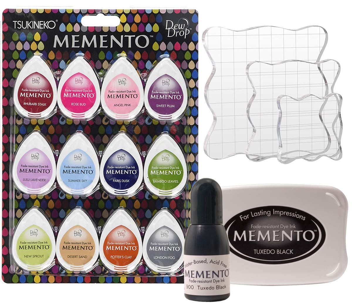 Bundle Tsukineko Sorbet Scoop Momento Inkpad Set-Pack of 12, Tsukineko Full-Size Memento Inkpad Tuxedo Black, Black Re-Inker, Pixiss 3X Acrylic Stamp Blocks