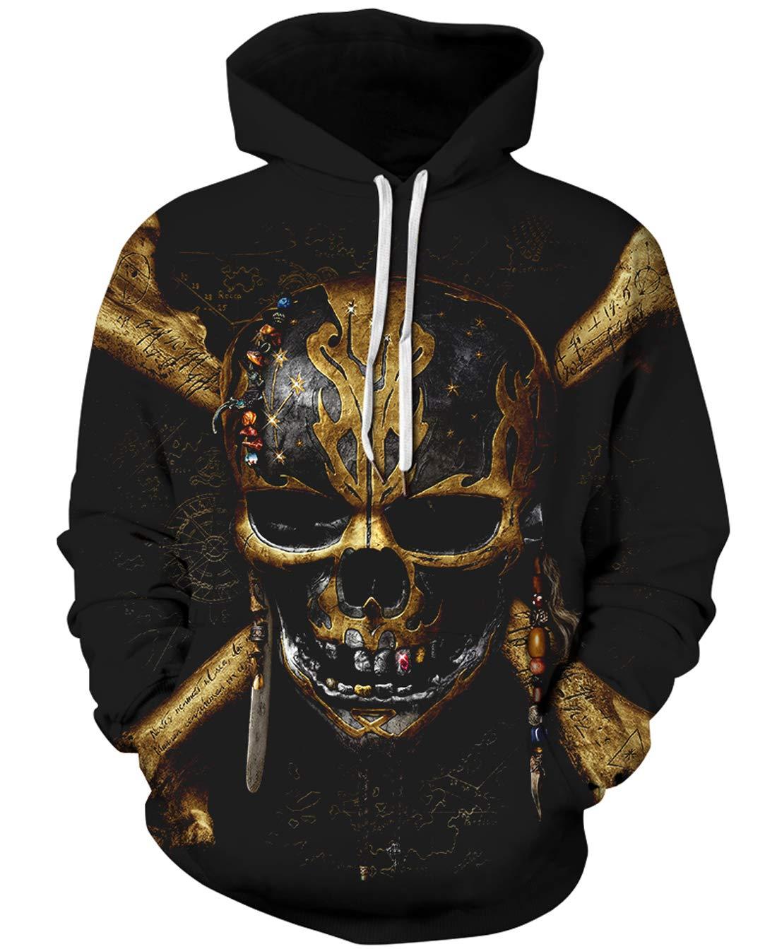 URVIP Unisex Realistic 3D Print Pullover Sweatshirt Hoodies with Big Pockets QYDM-467 XXL/XXXL by URVIP